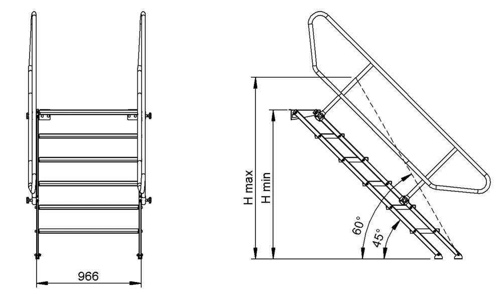 Stairs Adjustable 2 on 5 Feet 11 Inches To Cm